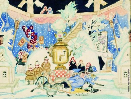 Кустодиев Б. М. Эскиз декорации к спектаклю «Блоха»
