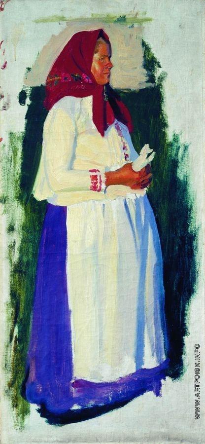 Кустодиев Б. М. Этюд крестьянки к несохранившейся картине «Из церкви»