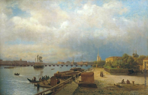 Лагорио Л. Ф. Вид на Неву и Петропавловскую набережную с домиком Петра I