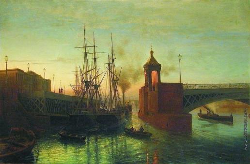 Лагорио Л. Ф. Вид разводного моста на Неве. Летняя ночь