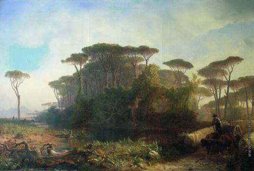 Лагорио Л. Ф. Итальянский вид. Пейзаж в Кастель-Фузано