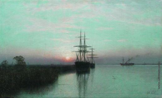 Лагорио Л. Ф. Корабли в заливе. Закат