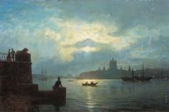 Лагорио Л. Ф. Лунная ночь на Неве (Вид с Охты на Смольный)