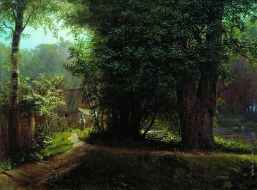 Лагорио Л. Ф. Пейзаж с деревьями, домами и рекой