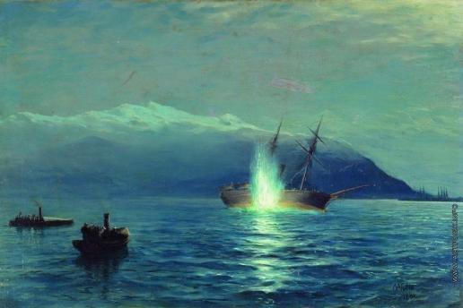 """Лагорио Л. Ф. Потопление катерами парохода """"Великий князь Константин"""" турецкого парохода """"Интибах"""" на Батумском рейде в ночь на 14 января 1878 года"""
