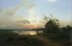 Лагорио Л. Ф. Рыбаки на реке. Вечерний закат