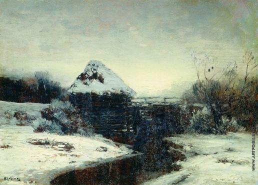 Левитан И. И. Зимний пейзаж с мельницей