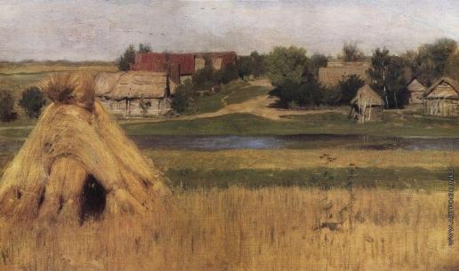 Левитан И. И. Снопы и деревня за рекой