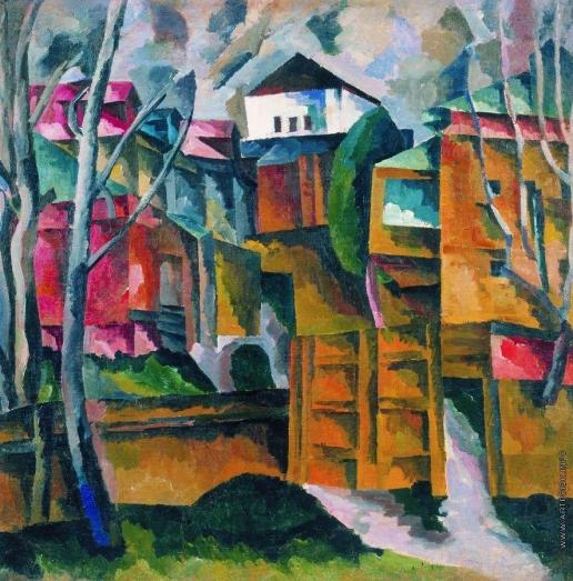 Лентулов А. В. Пейзаж с белым домом и желтыми воротами. 1920-