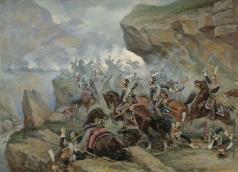 Мазуровский В. В. Атака 1-го Гвардейского польского уланского полка на испанскую батарею в сражении при Сомо-Сьерре 30 ноября 1808 года