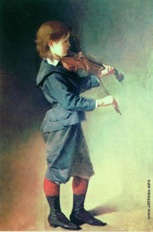 Макаров И. К. Мальчик со скрипкой. Около