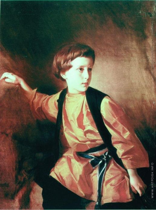 Макаров И. К. Портрет мальчика в оранжевой рубашке
