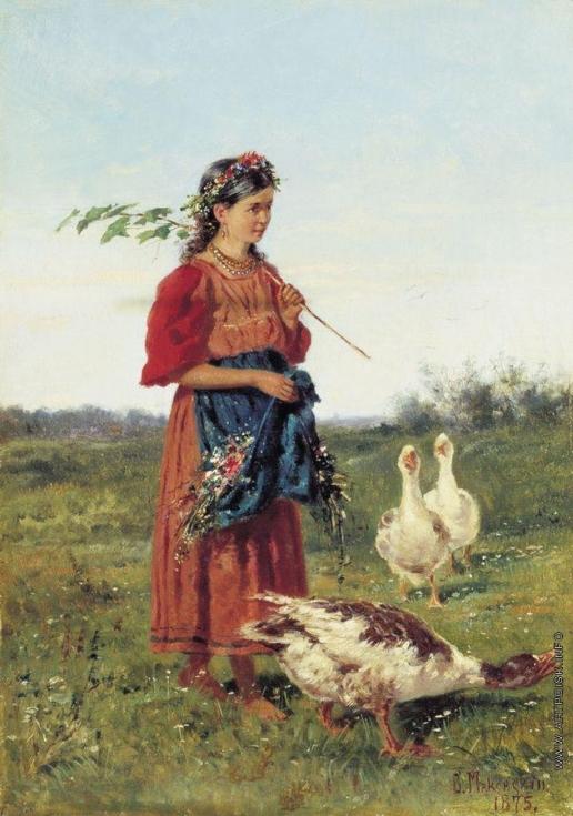 Маковский В. Е. Девочка с гусями