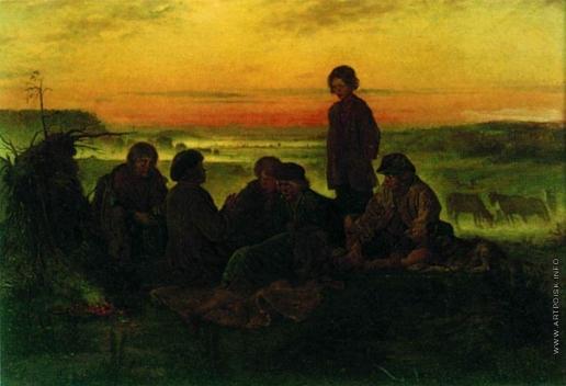 Маковский В. Е. Крестьянские мальчики в ночном стерегут лошадей