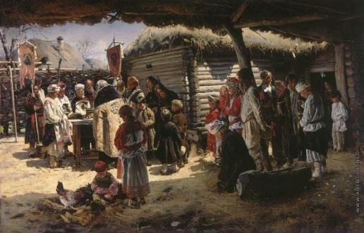 Маковский В. Е. Молебен на Пасху. 1887-