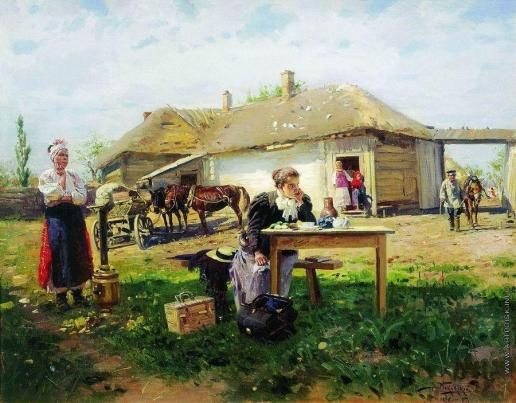 Маковский В. Е. Приезд учительницы в деревню. 1896-