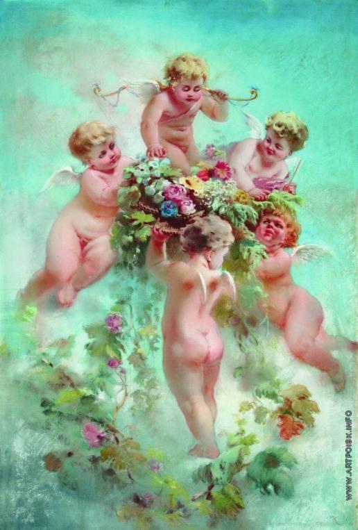 Маковский К. Е. Живопись. Амуры с цветами