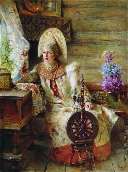 Маковский К. Е. Боярышня у окна (с прялкой)