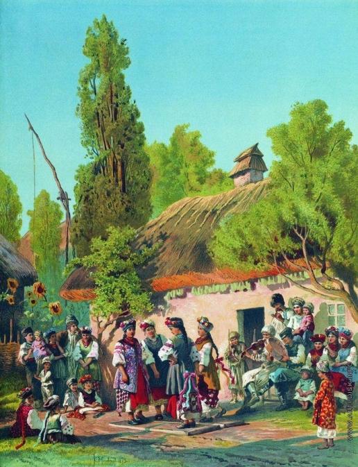 Маковский К. Е. Воскресный вечер в малороссийской деревне