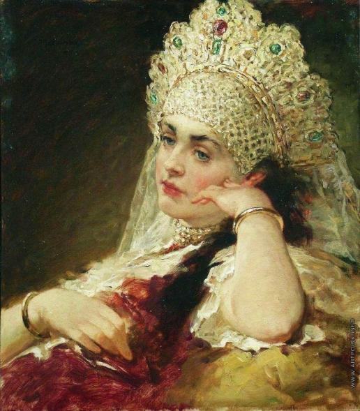 Маковский К. Е. Девушка в жемчужном ожерелье. Конец 1880-х –