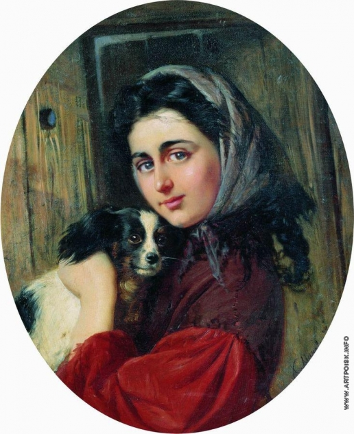 Маковский К. Е. Девушка с собакой