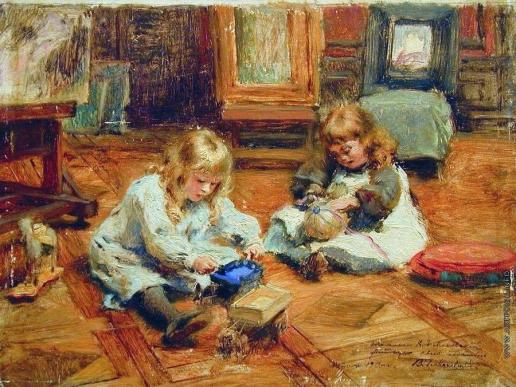 Маковский К. Е. Дети, играющие в мастерской