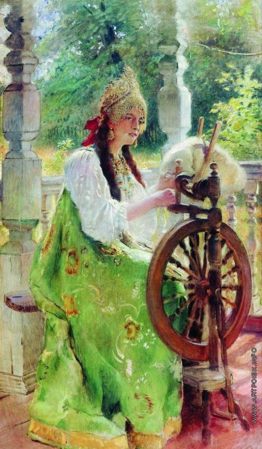 Маковский К. Е. За прялкой (Портрет дочери Ольги?)