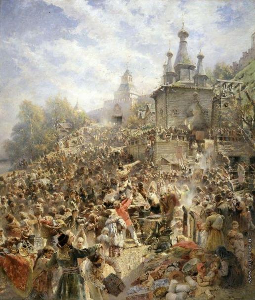 Маковский К. Е. Минин на площади Нижнего Новгорода, призывающий народ к пожертвованиям