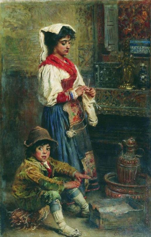 Маковский К. Е. Модели в ожидании художника (Греющиеся итальянцы)