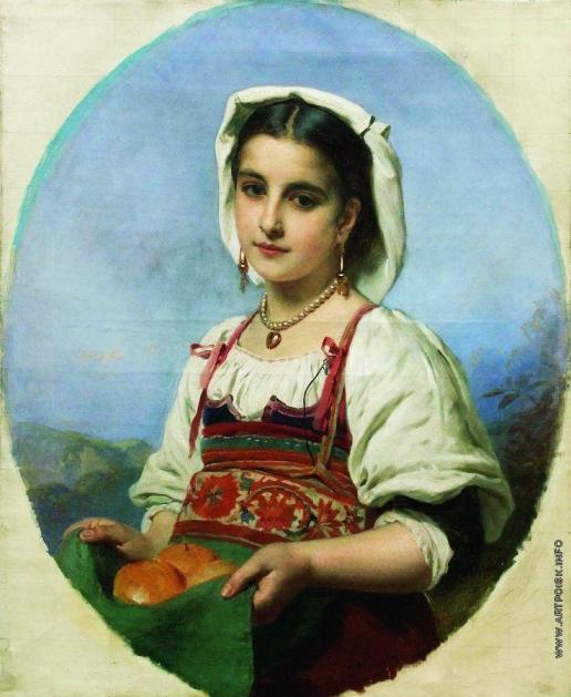 Маковский К. Е. Молодая итальянка с померанцами