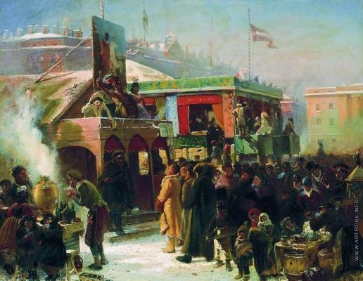Маковский К. Е. Народное гулянье во время масленицы на Адмиралтейской площади в Петербурге