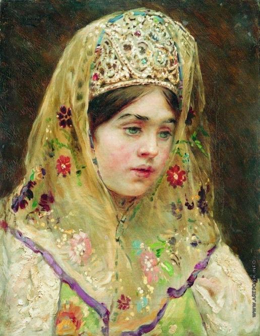 Маковский К. Е. Портрет девушки в русском костюме