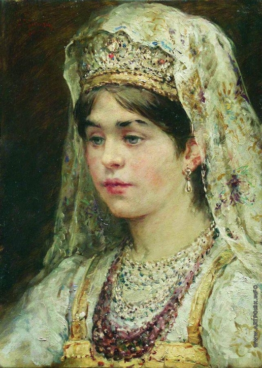 Маковский К. Е. Портрет девушки в русском костюме (Боярышня)