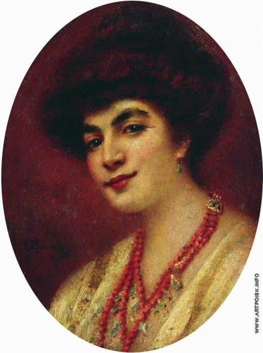 Маковский К. Е. Портрет женщины с коралловыми бусами