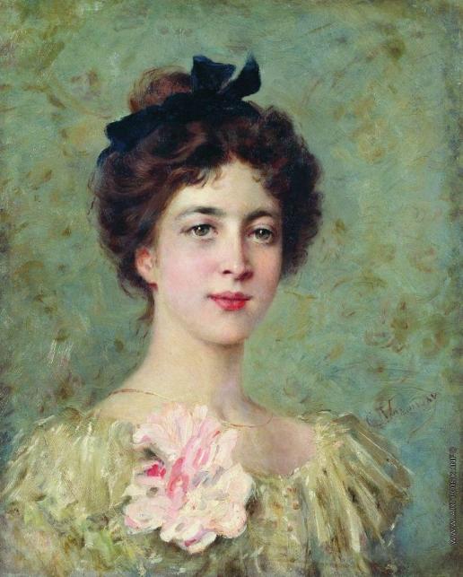 Маковский К. Е. Портрет молодой девушки с розовым бантом