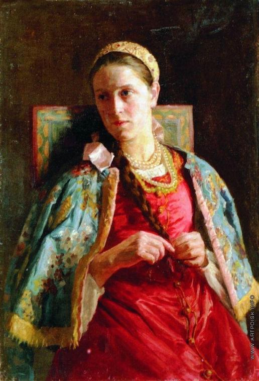 Маковский К. Е. Портрет молодой женщины в русском костюме
