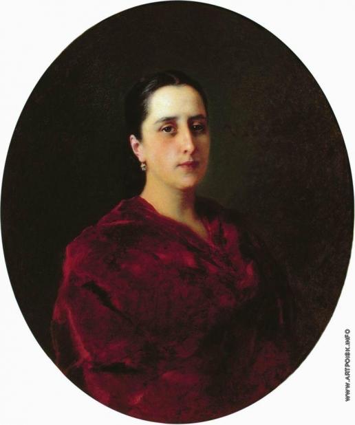 Маковский К. Е. Портрет молодой женщины в красном платье
