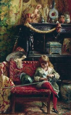 Маковский К. Е. Портрет сына в мастерской (Маленький антиквар)
