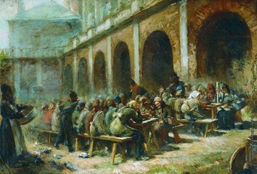 Маковский К. Е. Трапеза богомольцев в Троице-Сергиевой лавре
