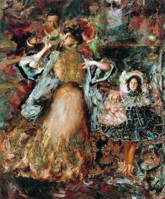Малявин Ф. А. Автопортрет с женой и дочерью