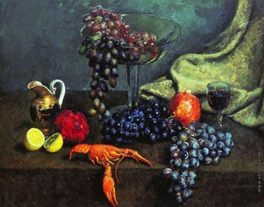 Машков И. И. Натюрморт. Виноград, лимон и рак