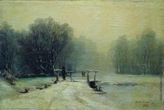 Мещерский А. И. Зимний пейзаж с мостиком