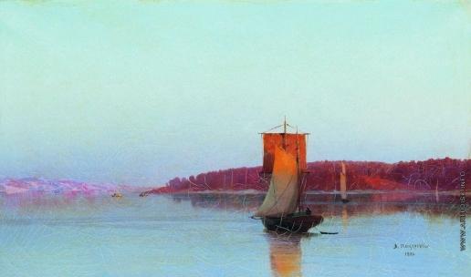 Мещерский А. И. Парусное судно при солнечном закате