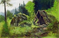 Мещерский А. И. Шалаш в лесу