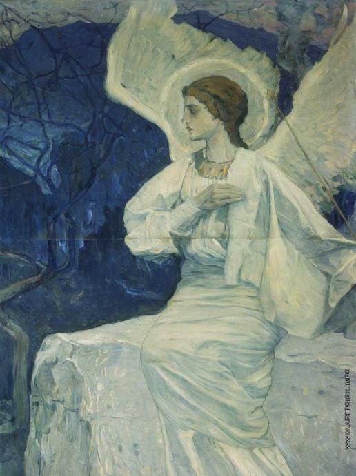 Нестеров М. В. Ангел, сидящий на гробе. 1908-