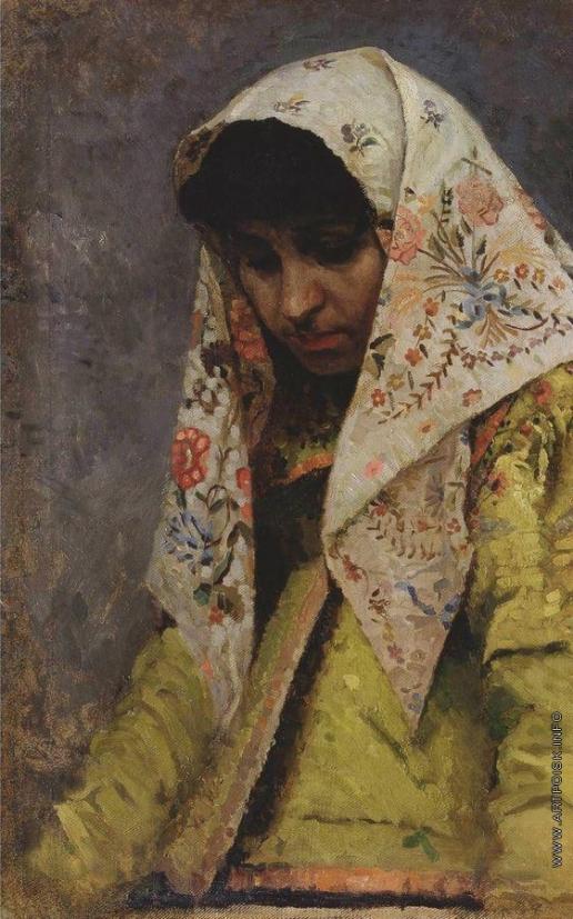Нестеров М. В. Голова молодой женщины в узорчатом платке