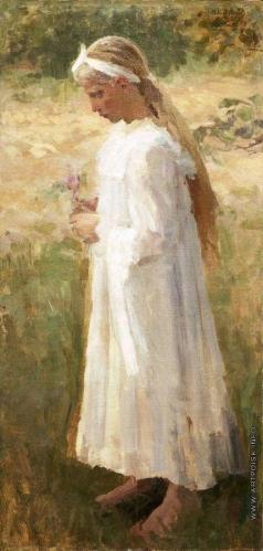 Нестеров М. В. Девочка в белом платье и с цветком в руках