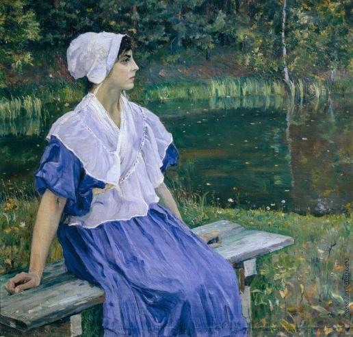 Нестеров М. В. Девушка у пруда (Портрет Н.М.Нестеровой)