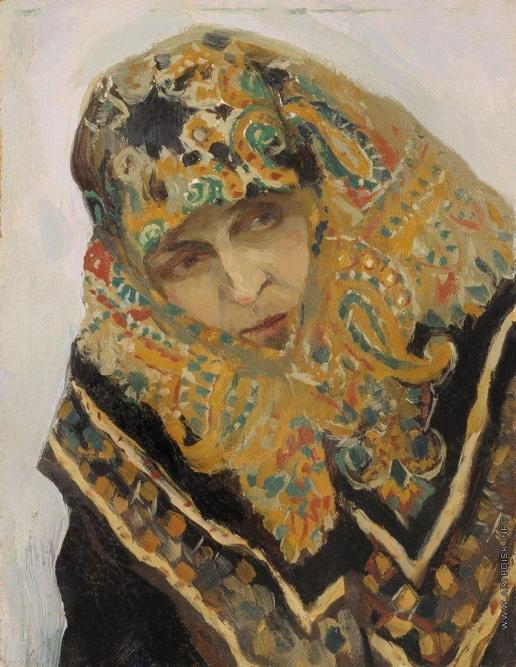 Нестеров М. В. Женщина в узорном платке. 1901-