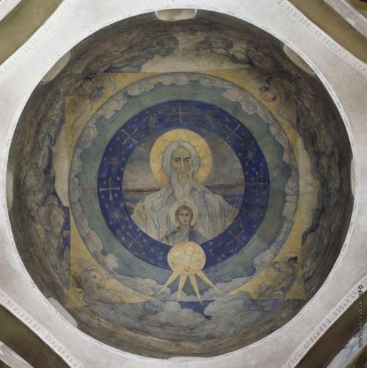 Нестеров М. В. Саваоф с Младенцем иисусом и Духом Святым (Отечество). 1910-